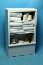 Dollhouse Miniature Bathroom Cabinet Filled with Towels, Toilet Paper & More