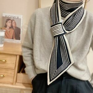 Black And White Classic Knitted Wool Scarf Warm Scarf Clothing Accessories*