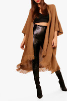 Ladies Womens Oversized Baggy Knitted Boxy Fashion Tassel Cape Cardigan Shawl