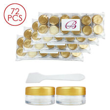 72PCS 10G/10ML Makeup Cream Cosmetic Gold Sample Jar Containers with Spatulas