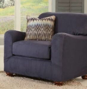 Stretch Suede Two Piece box cushion Chair Slipcover Storm Blue washable