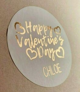 Foiled Personalised Valentines Day ROSE GOLD Love Heart Party Gift Bag Stickers