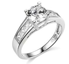 2.35 Ct Round Cut Engagement Wedding Ring Real 14K White Gold Diamond Simulation