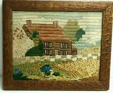 ARTS & CRAFTS FRAMED EMBROIDERED EMBROIDERY COTTAGE CABIN & GARDEN PICTURE