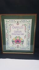 """"""" Charles & Diana Wedding """" Completed Cross Stitch Framed 19"""" x 22"""""""