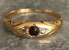 Antique 18ct Yellow Gold Diamond and Ruby Gypsy Ring Size P