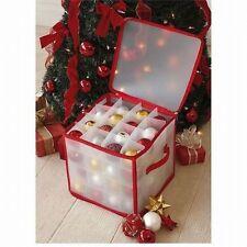 Christmas Xmas Decorations 64 BAUBLES ORNAMENT LIGHT Plastic STORAGE BOX