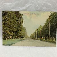 Vintage Postcard Main Street Scene Bellvue Ohio Hale Unused