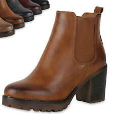 892339 Damen Chelsea Boots Leicht Gefütterte Stiefeletten Plateau Schuhe Top