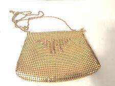 "Vintage Gold metallic mesh evening bag purse gold metal chain shoulder strap 21"""