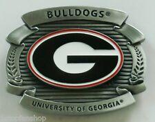 "Georgia Bulldogs Over-sized 4"" Pewter Metal Belt Buckle NCAA Licensed"