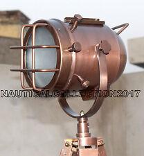 DESIGNER VINTAGE STYLE COPER FINISH TRIPOD FLOOR LAMP NAUTICAL SPOT SEARCH LIGHT