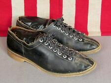 Vintage 1960s Black Leather Bowling Shoes Double-Toe Front Size 10 Bowlers