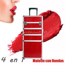 "Rojo 28,5"" Gran Maleta Neceser Caja Maletín Ruedas para Maquillaje Manicura Joya"