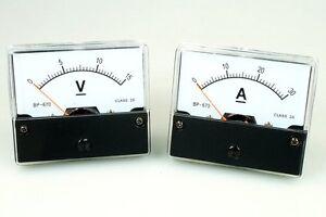 Voltmeter u. Amperemeter Set DC 15V und 30A analog Spannungsmesser  Strommesser