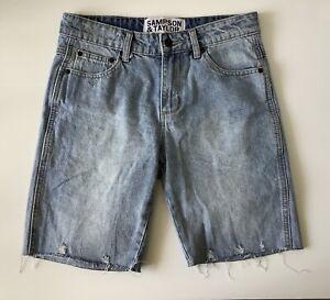 Sampson & Taylor Mens S Small Light Blue Denim Frayed cuff Shorts