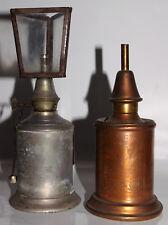 2 ANCIENNES LAMPES PIGEON LA MEILLEURE avec RARE VERRINE 3 FACETTES