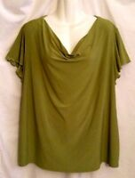 WOMEN'S CATO GREEN SHORT SLEEVE DRAPE NECK LIQUID KNIT STRETCH TOP 18/20W 2X