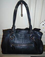 Designer COACH Black Leather East West Satchel Tote Shoulder Bag Handbag Purse