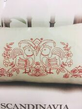 Scandinavian Red Birds Embroidered Pillow Case Kit by Anette Eriksson