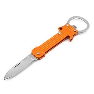 GUITAR SHAPE METAL KEY CHAIN & BOTTLE OPENER KNIFE PEELER SURVIVAL FOLDING BLADE