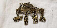 Vintage Brooch Noah'S Ark Animals Designer Jj Retro Collectable Pin
