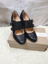 Clarks Dalia Violet Black Leather Round Toe Block Heels Mary Jane Shoes Size 6UK