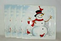 222 Fifth Winter Cheer Snowman Porcelain Salad Plates Set of Four New