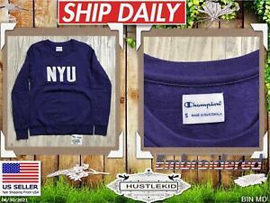 Genuine Champion NYU New York University Crewneck Sweatshirt Purple Small S NCAA