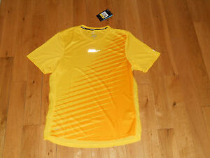 NWT Nike DRI-FIT  Running  Shirt Men's SMALL Yellow REFLECTIVE Athletic Workout