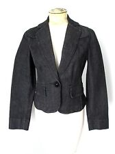 NWT Ann Taylor Black Cotton Denim Cropped Blazer Jean Jacket Cord Trim 4