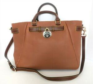 DOONEY & BOURKE LARGE SADDLE TAN LEATHER BELTED SHOPPER SATCHEL TOTE NEW W/TAG