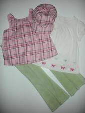 Gymboree Classroom Kitty Pink Plaid Top Cord Shirt Green Bow Pants 6 7 4pc Lot