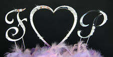 2 Crystal Silver Rhinestone Monogram Wedding Cake Topper Letters w a Love Heart