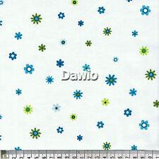 Blümen, blau, grun auf weiß, Patchwork, Quilt, Deko, Stoff, (20x110cm), €15,50/M