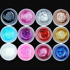 COS 12 Color Big Glitter Shimmer UV Builder Gel Nail Art Deco Set Tips Polish