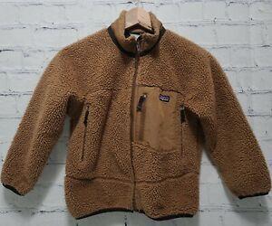 Patagonia Retro X Deep Pile Fleece Jacket Small (8) Brown Full Zip Kids  A35