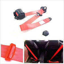 Red Retractable Car Vehicle 3-Point Safety Seat Lap Belt 880mm-1370mm Adjustable