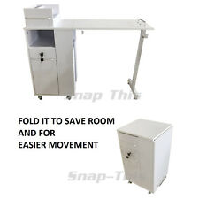 Nail Art Portable Mobile Desk Manicure Table Salon Technician Workstation White