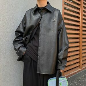 Autumn Leather Jacket Shirt Male Korean Style Loose Handsome Casual Top Coat