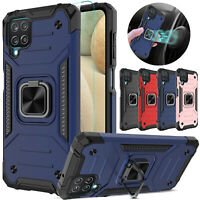 For Samsung Galaxy A12 Case Shockproof Ring Stand Cover/Glass Screen Protector