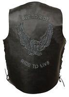 "Mens Black Solid Leather ""Live to Ride"" Eagle Embossed Vest, Side Lace"
