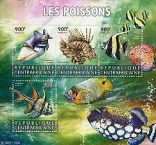 Central African Republic 2015 MNH Fishes 4v M/S Fish Lagoon Triggerfish Lionfish