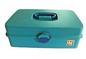 Vtg Caboodles 2710 Large Flat Makeup Pageant Storage Case Box Teal Green