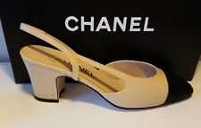 Chanel Two Tone Beige/Black Leather Slingback Heel Pumps Sandal Shoes 37M