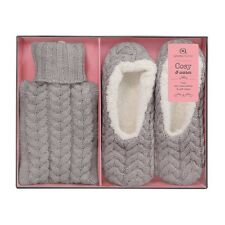 Aroma Home Ladies Grey Knitted Hot Water Bottle & Slippers Gift Set