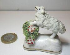 Antique miniature Staffordshire Rockingham porcelaine MOUTON PANIER C. 1830