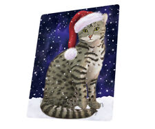 Let it Snow Christmas Egyptian Mau Cat Tempered Cutting Board Large Db88