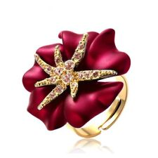 Luxury Women's Ring Red Yellow Gold Plated Crystal Pearl Adjustable Size Gift
