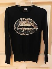 MARKUS LUPFER Silver Gray Sequin Lips Black Wool Sweater Jumper Small LK NW EUC!